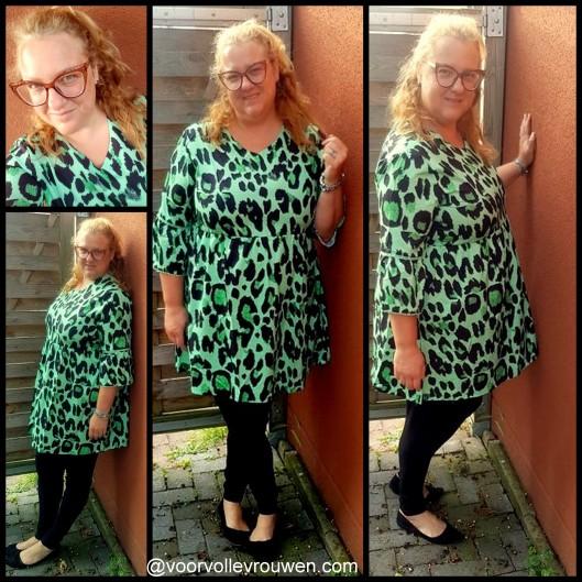 groen luipaard jurk